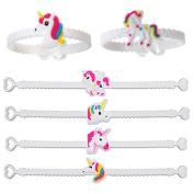 Meiyuan 12pcs Unicorn Wristbands Soft Band Bracelet Birthday Party Favours Kids Girls Gifts