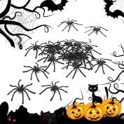 20PCS Halloween Plastic Black Spider Joking Toy Decoration Realistic Prop