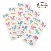 5 Sheets Unicorn Tattoo Stickers Cute Unicorn Water Transfer Temporary Tattoos for Party Festival