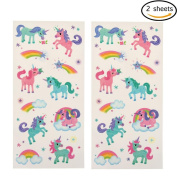 2 Sheets Unicorn Tattoo Stickers Cute Unicorn Water Transfer Temporary Tattoos for Party Festival