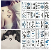 80 Sheets Tattoo Stickers Suitable for Young People's Fashion Tattoos, Geometry, Letters, Cool, Beautiful, and Funny Stickers