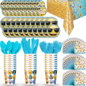 Disposable Paper Dinnerware for 24 - Emoji Theme - 2 Size plates, Cups, Napkins , Cutlery (Spoons, Forks, Knives), and tablecovers - Full Party Supply Pack