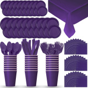 Disposable Paper Dinnerware for 24 - Purple - 2 Size plates, Cups, Napkins , Cutlery (Spoons, Forks, Knives), and tablecovers - Full Party Supply Pack