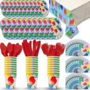 Disposable Paper Dinnerware for 24 - Balloons Theme - 2 Size plates, Cups, Napkins , Cutlery (Spoons, Forks, Knives), and tablecovers - Full Party Supply Pack - Perfect for Birthday Parties