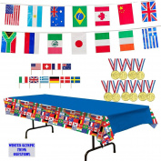 International Flags Tablecover, 7m Pennant Flag Banner, 12 Toy Gold Medals, Toothpick Flags (50), and Winter Olympic Trivia Questions
