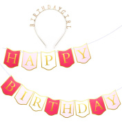 Happy Birthday Banner Set – Pink and Gold Birthday Bunting Flag Garland Party Decorations, Includes Bonus Gold Birthday Girl Tiara Headband, Party Supplies, Banner Length 2.4m