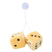 Lalang Fluffy Dice Hanging Plush Dice Cube with Suctions For Car Interior Ornament Decoration