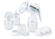 NUK 10252131 Nature Sense Breastfeeding Set with Manual Breast Pump & Bottle – White