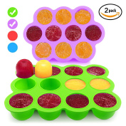 Silicone Freezer Tray for Baby Food Storage 2 Pack- Reusable Baby Food Storage Containers - Vegetable & Fruit Purees and Breast Milk - BPA FREE & FDA Approved -Lifetime Guarantee