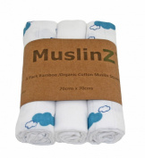Muslinz Premium Muslin Squares Bamboo/Organic Cotton Supersoft Very High Quality 3 Pack - 1 Plain White & 2 Blue Lagoon Cloud Design