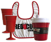 Red Cup Living Parenting Essentials Bundle Pack - 240ml Spill-Proof Sippy Cup + Snapback Cotton Baby Bib + (2) 240ml Reusable Wine Glasses