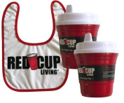 Red Cup Living Red Spill-Proof Sippy Cup 240ml + Snapback Cotton Baby Bib - Reusable and Washable - Toddler Drinkware Bundle Pack