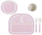 Kindsgut crockery set, baby plates/dishes, delicate pink triangles