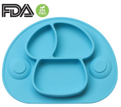 DEBAIJIA Baby Silicone Suction Plate Dish Meal Mat Food Grade Divided Sections with Strong Suction Cups Non-slip Portable Toddler Placemat FDA and BPA Free Fits Highchair For Kids Infant, Microwave & Dishwasher & Freezer Safe, Gift for Led Weaning and ..