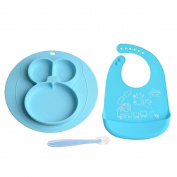 Baby Feeding Set-3 Accessories Soft All Wipe Clean Silicone Bib, Educational Baby Silicone Feeding Placemat & Soft Infant Spoon-Best Gift for Kids,toddler-BPA, PVC, Lead, Phthalate Free