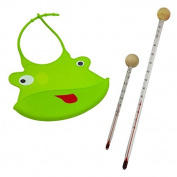 Baby Bibs Green and Baby Bottles and Thermometer Set