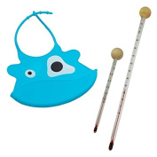 Baby Bib Turquoise and Baby Bottles and Thermometer Set