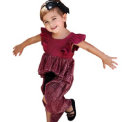 squarex Toddler Baby Girls Solid Patchwork Ruffles Sleeve Lace Dress Outfits Clothes Ballet Dresses