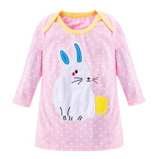 Buimin Children's Cute Cartoon Embroidery Decals Decorated Round Neck Long-Sleeved Straight Dress