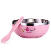 Lovely Cartoon Stainless Steel Double Layer Heat Insulation Bowl + Spoon for Baby