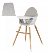 Koo-di Duo Wooden Beech Highchair And Splash Mat Package - Includes Highchair That Converts in to a Low Chair Colour Grey Plus Light Grey Stars Splash Mat – Suitable From 6 Months