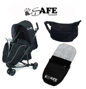 iSafe Visual 3 Stroller BLACK - Complete With Footmuff, Raincover & Changing Bag