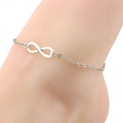 Horaire anklet fashion simple ∞ symbol pendant, alloy foot jewellery, women beach anklet accessories chain, 21 cm, silver Silver