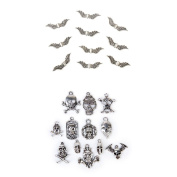 Homyl 22pcs Beautiful Jewellery Accessory Findings Vintage Skull Shapes Angel Wing Beads Charms Pendants