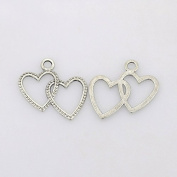 20 x Tibetan Heart Double Loveheart Charm Pendant Silver Colour23mm Attachment rings included
