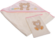 Bieco 38000120 Baby Hooded Bath Towel and Wash Mitt Set – Pink, Approx. 100 x 100 cm