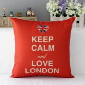 British Style Pillowcase-46cm x 46cm Cartoon Linen Cotton Pillow Cover- Art Coshion Cover Sofa Bed Decor-Throw Pillow Case Home Office Decoration