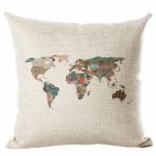TIREOW Fashion Map Of The World Print Pillow Cases Linen Cotton Sofa Cushion Cover Home Decor