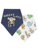 M & Co Baby Boy Cotton Front Cheeky Monkey Slogan Print Bandana Dribble Bibs Two Pack