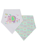 M & Co Baby Girl Cotton Front Elephant Butterfly Design Bandana Dribble Bibs Two Pack