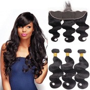 10A 13x4 Ear to Ear Lace Frontal Closure with Hair Bundles Brazilian Virgin Hair 3 Bundles Body Wave with Closure for Women Natural Black Colour