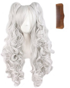 Tsnomore Multi-colour Lolita Long Curly Clip on pigtail Cosplay Wig pink pigtail wig+ 2 clip on pigtail +a Comb for free