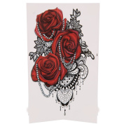 AllRight Floral Temporary Tattoo - Large Red Roses Tattoo Sticker Fake Waterproof Sheet - 21cm x 15cm