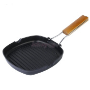 Non Stick Hard Iron Foldable Griddle Skillet 24cm Square Frying Pan For BBQ - Picnic - Camping Or Stove Top