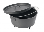 Cuisiland Seasoned 15.1l Cast Iron Dutch Oven lip lid 3 legs