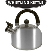 Tea Kettle Stovetop Whistling Coffee Brushed Stainless Steel 1.8 L- Durable & Rust Proof - Teapot Fast boil Water - Stay-Cool Handle