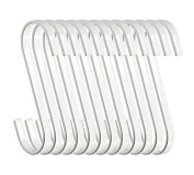 RuiLing 12-Pack 11cm White Chrome Finish Steel Hanging Flat Hooks - S Shaped Hook Heavy-Duty S Hooks, for Kitchenware, Pots, Utensils, Plants, Towels, Gardening Tools, Clothes
