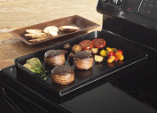 New Black Outdoor Kitchen Rectangular Cast Aluminium 2 Burners Grill Griddle Pan