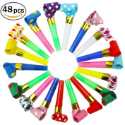 Wubao Party Horns Tube Blowouts Noisemakers music Toys 48 pcs