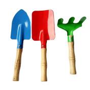 Fengzhicai 3Pcs Children Trowel Rake Shovel Kids Garden Tool Set Home Gardening Beach Toy - Red + Green + Blue