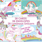 Valentines Day Cards for Kids Fairy Unicorns with Charm Glow in the Dark Horse Rainbow Keepsakes Super School Valentine's Pack 28 Cards with Envelopes,Childrens/Students Party Supplies