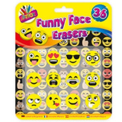 12 x Novelty Funny Face Emojis Erasers School Fun Party Bags Gifts