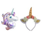 Homyl Sweet Unicorn Horn Ear Flower Headband Large Rainbow Foil Pony Balloon Fancy Dress Cosplay Party Accessory Toy Gift
