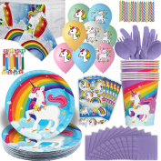 Unicorn Party Supplies - 16 Guests - Plates, Cups, napkins, tablecloth, Cutlery, Stickers, Balloons, Blowouts, Candles - Magical Unicorn Rainbow theme Birthday Decorations and Disposable Tableware