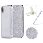 Silver Glitter Leather Case for iPhone X,Wallet Flip Case for iPhone X,Herzzer Luxurious Noble Premuim Bling Technology Electroplating Crystal TPU Shockproof Case with Card Slot