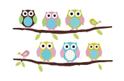Colourful Owls on Branches Wall Sticker